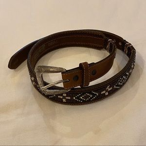 JUSTIN Beaded Top Grain Cowhide Western Belt-30